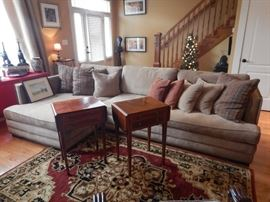 """2 SECTION SOFA THAT HOOKS TOGETHER SO IT WON'T SLIDE APART. HARDLY EVER USED. 10'4"""" LONG. 5X8 RUG"""