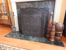 FIREPLACE SCREEN AND TOOLS & WOOD ORNAMENTALS