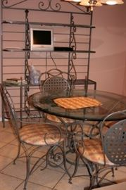 Baker's Rack with Round Glass & Metal Table with 4 Chairs