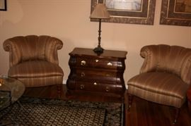 Pair Upholstered Chairs and Chest with Lamp
