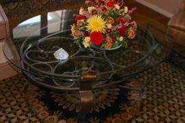 Glass & Metal Coffee Table and Decorative