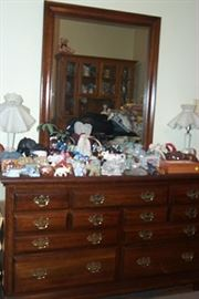 Dresser w/ mirror (57 in. wide) and sample of elephants