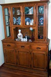 2 pc Oak cabinet (55 in. W x 17 in D x 74 in. H)
