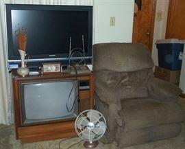 37 in. Sylvania flat screen TV, La-Z-Boy recliner