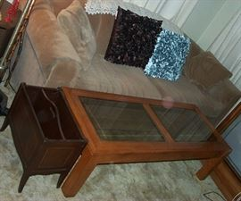 Brown sofa (85 in long), Coffee table, magazine holder