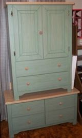 Green cabinet and matching drawers