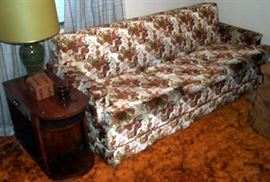 Floral sofa and end table