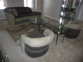 DESIGNER CONTEMPORARY WEIMAN FURNITURE-CHAISE LOUNGE, 2 MATCHING CHAIRS, AREA RUG, GLASS TOP SIDE TABLES