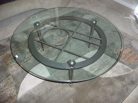 DESIGNER GLASS TOP METAL BASE COFFEE TABLE