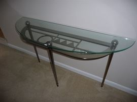 DESIGNER GLASS TOP METAL BASE SOFA TABLE