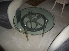 DESIGNER GLASS TOP METAL BASE SIDE TABLE