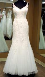Robin Jillian Trumpet Wedding Dress w/Illusion Straps, Small Illusion Back, White, Size 10