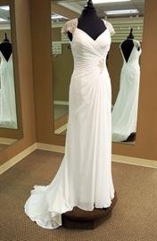 Maggie Sottero Grecian Chiffon Sheath Wedding Gown w/Crystal Cap Sleeves, Ivory, Size 8