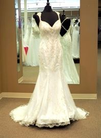 Kitty Chen Fully Beaded Sheath Criss Cross Back Evelyn Wedding Gown, Ivory, Size 8