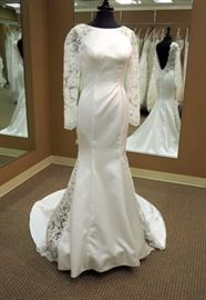 Kitty Chen Elegant Silhouette Wedding Dress w/Illusion Side Panels and Sleeves, Ivory, Size 8