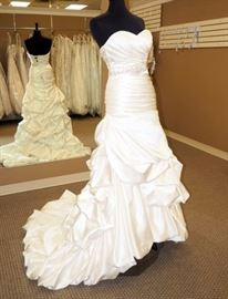 Private Collection From The House of Wu Satin Ruched Wedding Gown / Dress w/Belt, Ivory, Size 6