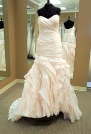 Sottero and Midgely Fit and Flare Ruched Wedding Gown, Soft Blush, Size 10