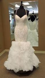 Kitty Chen Beaded Bodice Mermaid Wedding Gown w/Criss Cross Straps, Ivory, Size 8