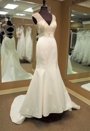 Allure Bridal Satin Trumpet Wedding Gown w/Illusion Back, Crystal Bodice Buttons Down Train, Ivory With Silver, Size 10