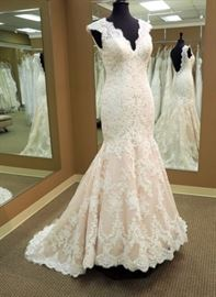 Allure Bridal Lace Trumpet Wedding Gown, Champagne and Ivory, Size 10