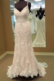 Katy Chen Sheath Wedding Gown, Buttons Down Train, Beaded Shoulder Accent, Ivory Over Nude, Size 10