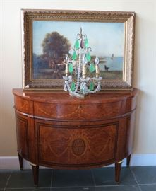 pair commodes oil paintings