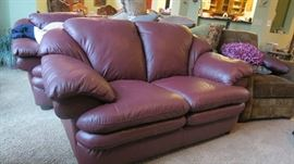 Natuzzi Leather Love Seat with Matching Couch