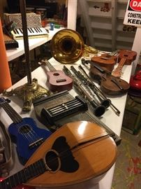 Assortment of music instruments....some need a little TLC