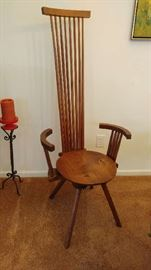 One of four handcrafted chairs by Jeffrey Greene. Signed, numbered. Two arm chairs, two side chairs