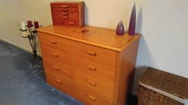Handcrafted solid oak dresser, inlaid wood design