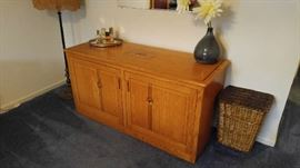 Handcrafted solid oak cabinet with inlaid wood design