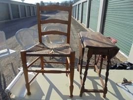 Set of Rush ladder back chairs (6 available)  and a drop leaf side table