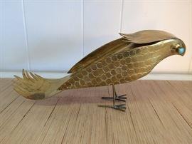 "Lifesize ""Parrot"" Sculpture in Brass  $550  25% off: $412"