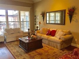 Sofa and matching oversized chair and ottoman, large rug, Eddie Bauer barley twist coffee table and matching end tables, large mirror