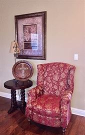 Wing back chair, barley twist end table