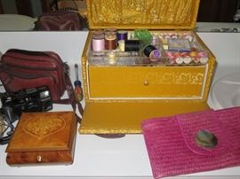 Vintage Sewing Box and Cameras.