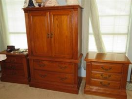 "Solid oak furniture by ""American Drew""."