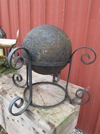 """Early 12"""" cannon Ball with wick depression and custom stand"""