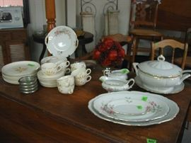 vintage china and drop leaf table