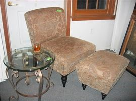 chair and ottoman, glass side table