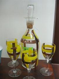mid-century decanter and wine glasses