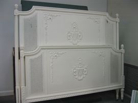 Painted vintage full size bed (headboard, foot board and side rails