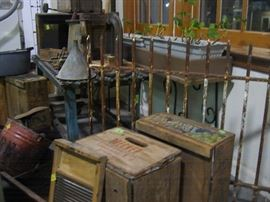 Industrial, old boxes, wash board,