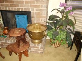 silk plant, brass container, plant tables