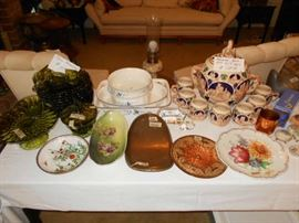 Thump-print grn dishes, Villeroy & Boch serving dishes (Vieux Luxembourg), vintage Rum pot from Germany, vintage items