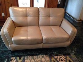Cindy Crawford Cream Leather Loveseat