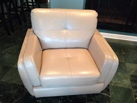 Cindy Crawford Cream Leather Arm Chair - 1 of 2