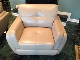 Cindy Crawford Cream Leather Arm Chair - 2 of 2