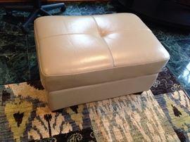 Cindy Crawford Cream Leather Ottoman