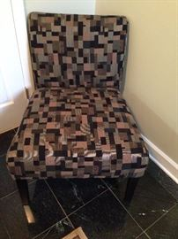 Geometric Pattern Upholstered Armless Chair